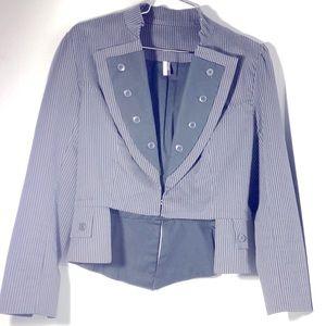 ✨NEW. TopShop-Grey Stripped Cropped Blazer Jacket